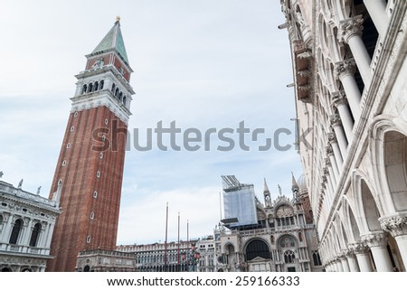 VENICE, ITALY - APRIL 13, 2013 : San Marco Campanile, Basilica and Doges Palace. Venice, Italy - stock photo