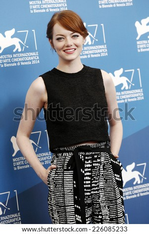 VENICE, ITALY - AUGUST 27: Actress Emma Stone attends 'Birdman' photo-call during the 71st Venice Film Festival on August 27, 2014 in Venice, Italy. - stock photo
