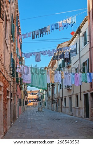 Venice, Italy, courtyard in Arsenal quarter - stock photo