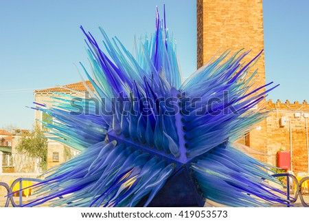 Venice, Italy - 11 February 2016: The Famous Blue Glass Sculpture Display by Simone Cenedes in Murano Island. - stock photo