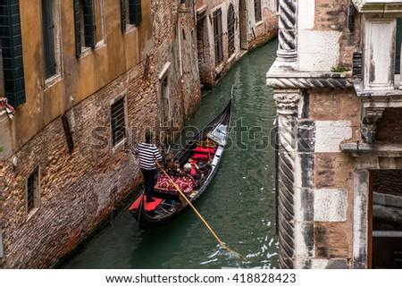 Venice, Italy. Gondola. Details - stock photo