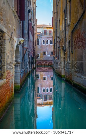 Venice, Italy, Grand Canal and historic tenements - stock photo