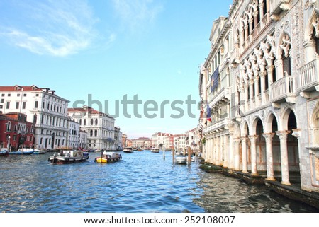 VENICE ITALY-JANUARY 27: Cityscape on Grand Canal on January 27, 2015 in Venice Italy. Cannaregio district. Ca D oro Palaces in the Grand Canal, Venice - stock photo