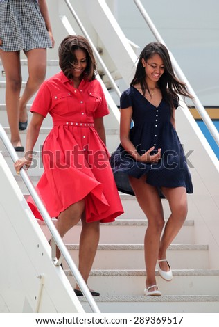 VENICE, ITALY - JUNE 19: The First Lady Michelle Obama with her daughter arrive at Venice Airport in Venice, Italy 19 June 2015 - stock photo