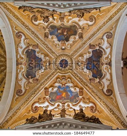 VENICE, ITALY - MARCH 12, 2014: Baroque cupola of side chapel in Basilica di san Giovanni e Paolo church.  - stock photo