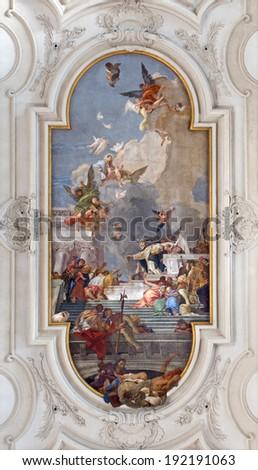 VENICE, ITALY - MARCH 11, 2014: Ceiling fresco from church Santa Maria del Rosario (Chiesa dei Gesuati) by Giovanni Battista Tiepolo from 18. cent. Saint Dominic with the rosary and Madonna.  - stock photo