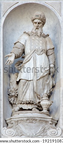 VENICE, ITALY - MARCH 11, 2014: Statue of prophet Aron (1738 - 1755) from church Santa Maria del Rosario (Chiesa dei Gesuati) by  Giovan Maria Morlaiter  - stock photo