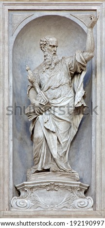 VENICE, ITALY - MARCH 11, 2014: Statue of Saint Paul (1738 - 1755) from church Santa Maria del Rosario (Chiesa dei Gesuati) by  Giovan Maria Morlaiter  - stock photo