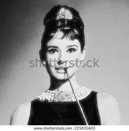 VENICE, ITALY - MAY 6, 2012: Print depicting movie star Audrey Hepbur