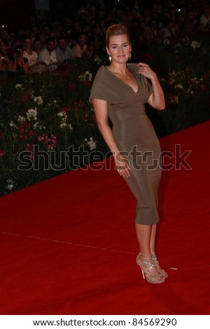 VENICE, ITALY - SEPTEMBER 01: Actress Kate Winslet attends the 'Carnage' premiere during the 68th Venice Film Festival at Palazzo del Cinema on September 1, 2011 in Venice, Italy. - stock photo