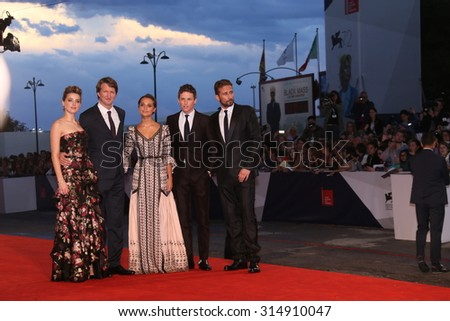 Venice, Italy - 05 September 2015: Amber Heard, Alicia Vikander,  Matthias Schoenaerts, Eddie Redmayne   attend the premiere of the movie 'THE DANISH GIRL' during the 72nd Venice Film Festival - stock photo