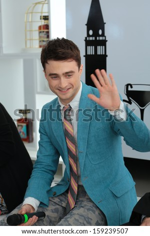 VENICE, ITALY - SEPTEMBER 02: Daniel Radcliffe arrives for film Kill Your Darlings of the register John Krokidas during the 70th Venice Film Festival on September 02, 2013 in Venice, Italy  - stock photo