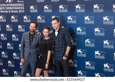 Venice, Italy - 05 September 2015: Kristen Stewart, Drake Doremus and Nicholas Hoult attend a photocall for 'Equals' during the 72nd Venice Film Festival at Palazzo del Casino - stock photo