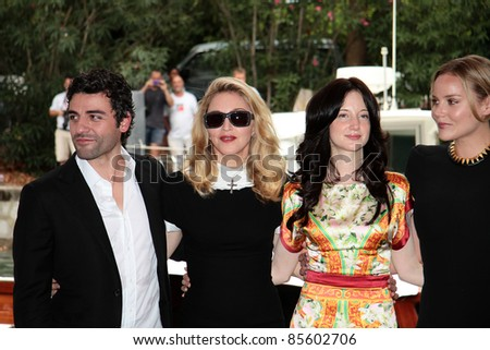 VENICE, ITALY - SEPTEMBER 01: Madonna (second from left) arrives at the Casinò Palace during the 68th Venice Film Festival on September 01, 2011 in Venice, Italy. - stock photo