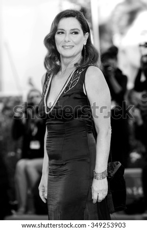 VENICE, ITALY - SEPTEMBER 6: Monica Guerritore attends the premiere of 'A bigger splash' during the 72nd Venice Film Festival on September 6, 2015 in Venice, Italy. - stock photo