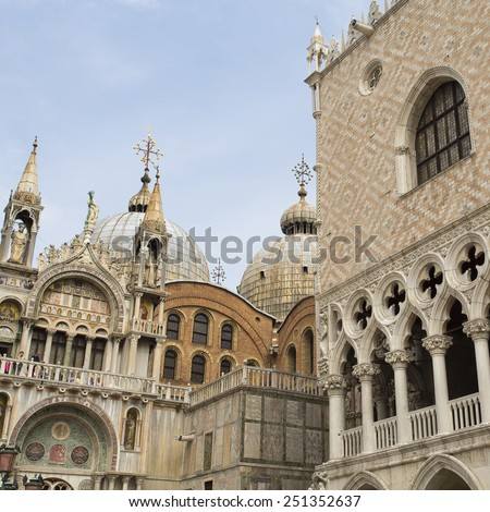 VENICE, ITALY - SEPTEMBER 4, 2014: Partial view of the Basilica of Saint Mark and the Palazzo Ducale - stock photo