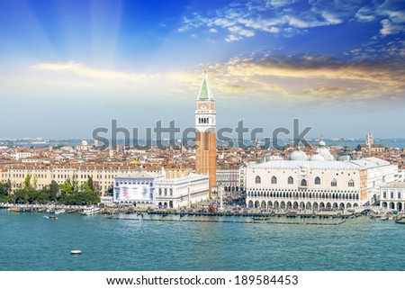 Venice landmark, aerial view of Piazza San Marco or st Mark square, Campanile and Ducale or Doge Palace. Italy, Europe.  - stock photo