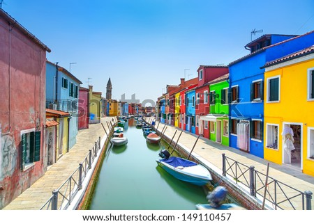 Venice landmark, Burano island canal, colorful houses and boats, Italy. Long exposure photography - stock photo