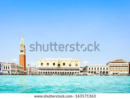 Venice landmark, view from sea of Piazza San Marco or st Mark square, Campanile and Ducale or Doge Palace. Italy, Europe. - stock photo