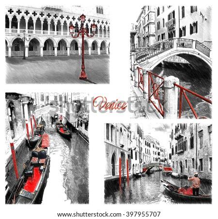 Venice landmarks. Illustration in draw, sketch style - stock photo