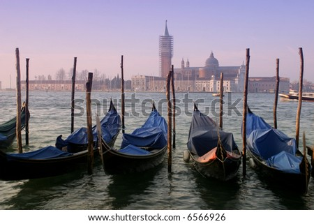 Venice Morning: Morning breaks over beautiful Venice, Italy. - stock photo