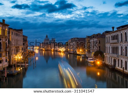 Venice panorama in evening, on Grand Canal. - stock photo