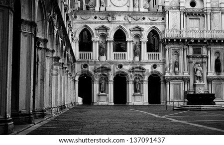 Venice Place - Black And White - stock photo