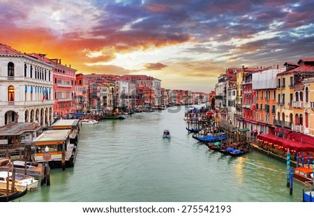 Venice - Rialto bridge and Grand Canal - stock photo