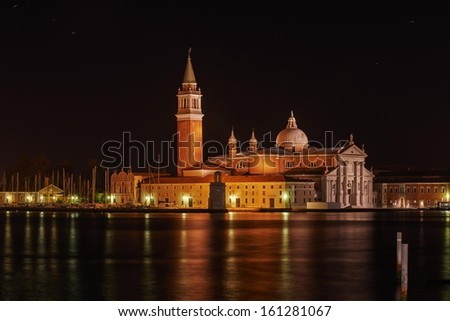 Venice, San Giorgio Maggiore church Long exposure By Night.  - stock photo