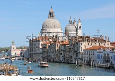 Venice: Santa Maria della Salute church - stock photo