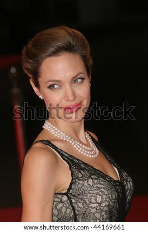 VENICE - SEPT 2:Angelina Jolie attends the premiere of 'The Assassination of Jesse James by the coward Robert Ford' at the 64th Venice Film Festival on September 2, 2007 in Venice. - stock photo