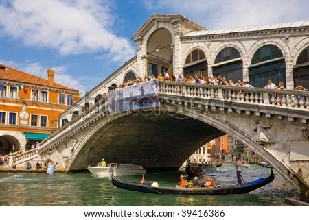 Venice The Rialto Bridge - stock photo