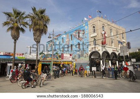 VENICE, UNITED STATES - January 3: Big mural in the Ocean Front Walk on January 3, 2014 in Venice Beach, by the artist Rip Cronk. - stock photo