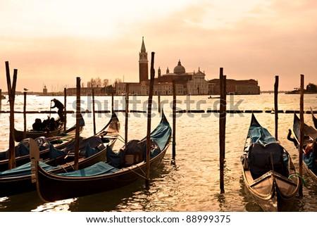 Venice, View of San Giorgio maggiore from San Marco. Italy. - stock photo