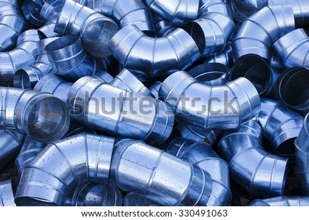 ventilation ducts. many of the same bent metal components the air duct, texture - stock photo