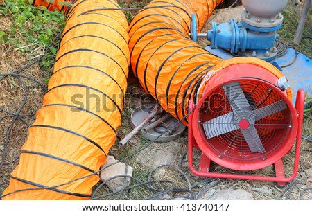 Ventilation pipe and fan - stock photo