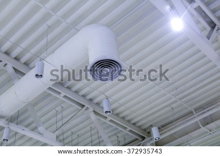 Ventilation system and lamps - stock photo
