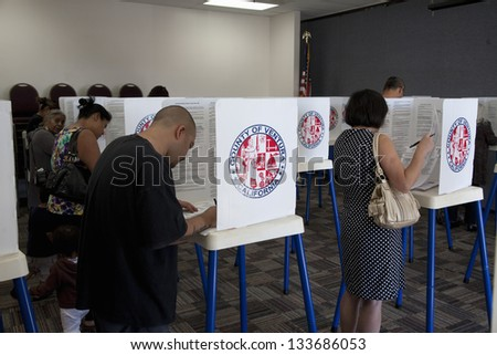 VENTURA COUNTRY, CA - NOVEMBER 06: Voters at polling station in 2012 Presidential Election on November 06, 2012 Ventura County, California - stock photo