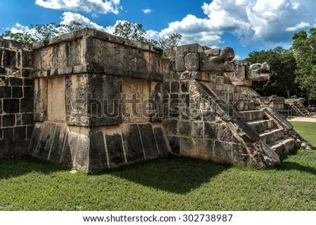 Venus Platform in the Great Plaza of Chichen Itza archaeological site, Yucatan, Mexico. - stock photo