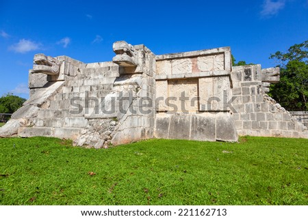 Venus Platform in the Great Plaza of Chichen Itza, Mexico - stock photo