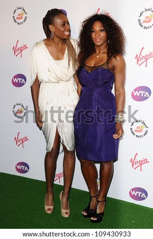 Venus Williams and Serena Williams arriving for the 2012 WTA Pre-Wimbledon Party at the Roof Gardens in Kensington, London. 21/06/2012 Picture by: Steve Vas / Featureflash - stock photo