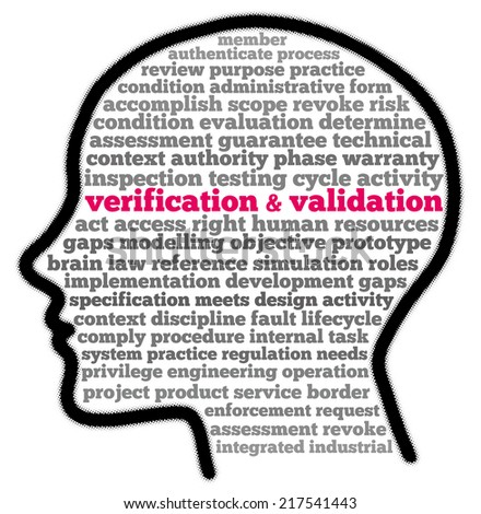 Verification and validation in words cloud - stock photo