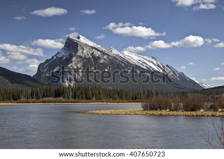Vermilion Lake with Mt Rundle in the background! Taken in Banff National Park. - stock photo