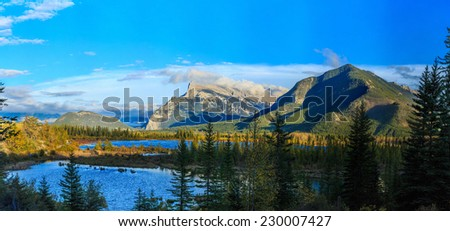Vermillion Lake and Randle Mountain, Banff, Alberta, Canada - stock photo