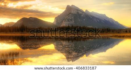 Vermillion Lake sunrise in Banff National Park in Canada - stock photo