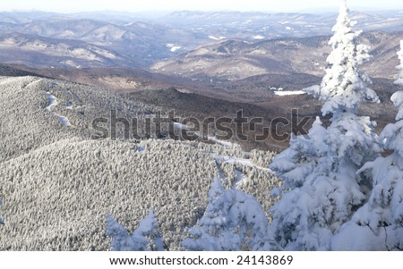 Vermont's mountains in the winter. - stock photo