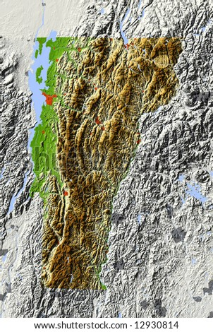 Vermont. Shaded relief map.  Shows major urban areas and rivers, surrounding territory greyed out. Colored according to relative terrain height. Clipping path for the state area included. - stock photo