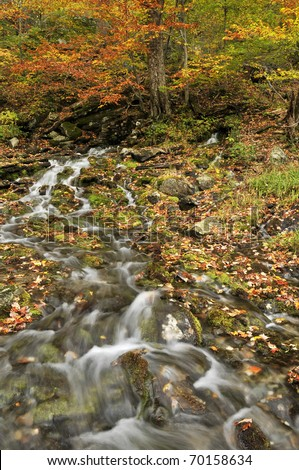 Vermont Smugglers Notch State Park Waterfall in Autumn Vertical - stock photo
