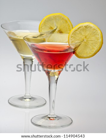 vermouth rosso   and white isolated on a white background - stock photo