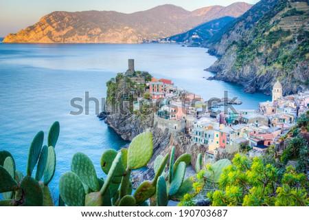 Vernaza, Cinque Terre, Italian sea coast - stock photo
